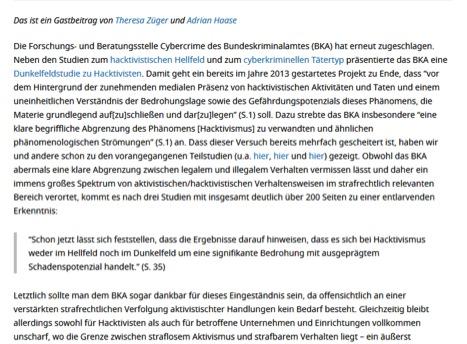 Abbildung 11 Quelle: Netzpolitik (18.05.2016): Mit dem BKA ins hacktivistische Dunkelfeld. Online: https://netzpolitik.org/2016/mit-dem-bka-ins-hacktivistische-dunkelfeld/ (zuletzt aufgerufen: 23.06.2016).