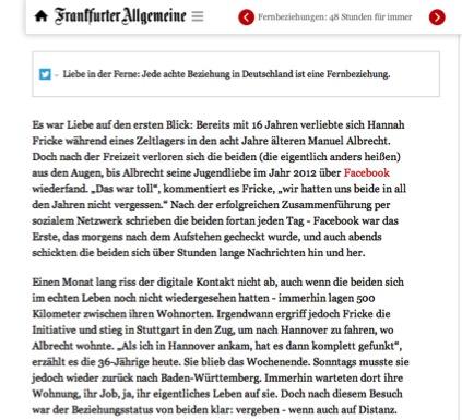 Abbildung 2 Quelle: FAZ (05.06.2016): 48 Stunden für immer. Online: http://www.faz.net/aktuell/gesellschaft/menschen/jede-achte-beziehung-in-deutschland-auf-distanz-14245996.html (zuletzt aufgerufen: 23.06.2016).