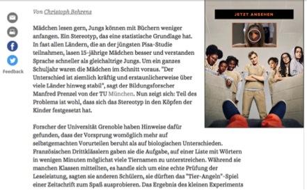 Abbildung 6 Quelle: Süddeutsche Zeitung (11.05.2016): Warum Jungen schlechter lesen als Mädchen. Online: http://www.sueddeutsche.de/wissen/bildung-warum-jungen-schlechter-lesen-als-maedchen-1.2987499 (zuletzt aufgerufen: 23.06.2016).