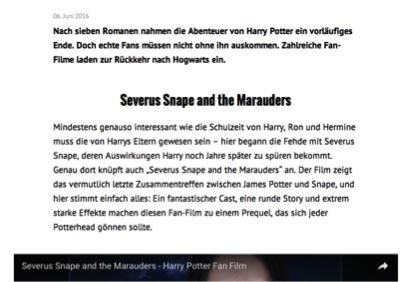 Abbildung 8 Quelle: Ze.tt (06.06.2016): Das sind die besten Harry-Potter-Fan-Filme. Online: http://ze.tt/das-sind-die-besten-harry-potter-fan-filme/ (zuletzt aufgerufen am 01.07.2016).