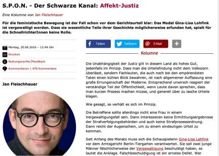 Abbildung 9 Quelle: Spiegel Online (20.06.2016): S.P.O.N. –Der schwarze Kanal: Affekt-Justiz. Online: http://www.spiegel.de/politik/deutschland/gina-lisa-lohfink-affekt-justiz-kolumne-a-1098597.html (zuletzt aufgerufen am 01.07.2016).